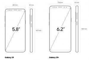 Размеры смартфона Samsung Galaxy S9 и S9+